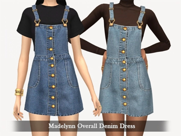 Overall Denim Dress CC for TS4