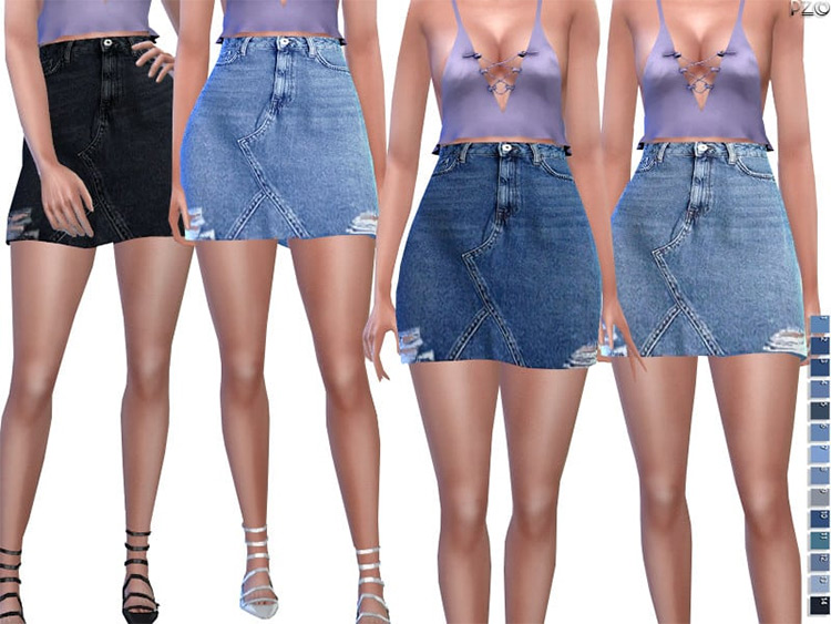 Distressed Denim Skirt CC for TS4