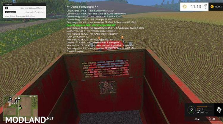 VehicleSort mod for Farming Simulator 17