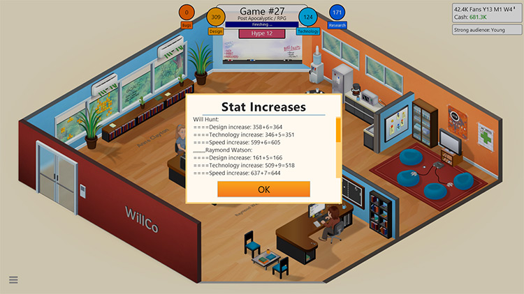 Staff Gain Experience From Games mod for Game Dev Tycoon