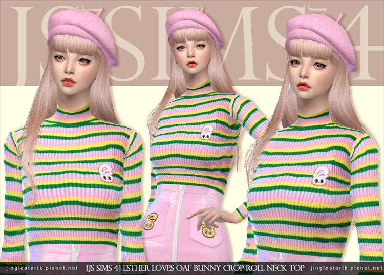 Bunny Crop Roll Neck Top & Vinyl Bunny Skirt Sims 4