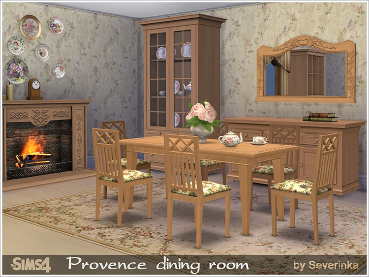 Provence Dining Room CC for Sims 4