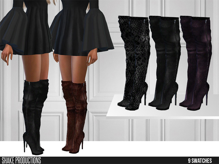 Leather Knee-High High Heel Boots for The Sims 4