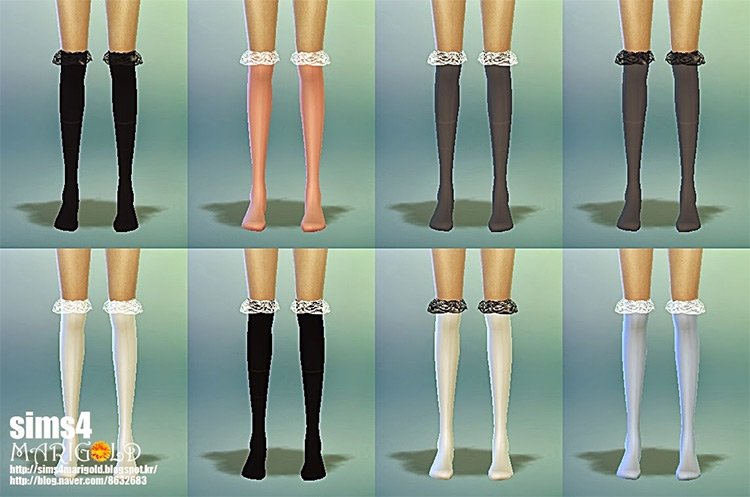 Lace Socks Thigh-High for The Sims 4