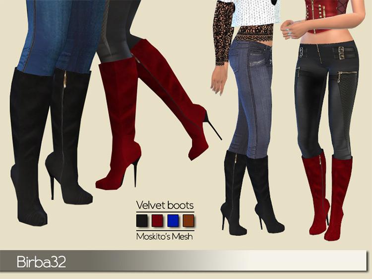 Velvet Boots for The Sims 4