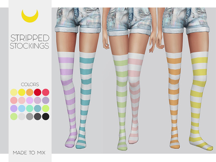 Striped Stockings CC for The Sims 4