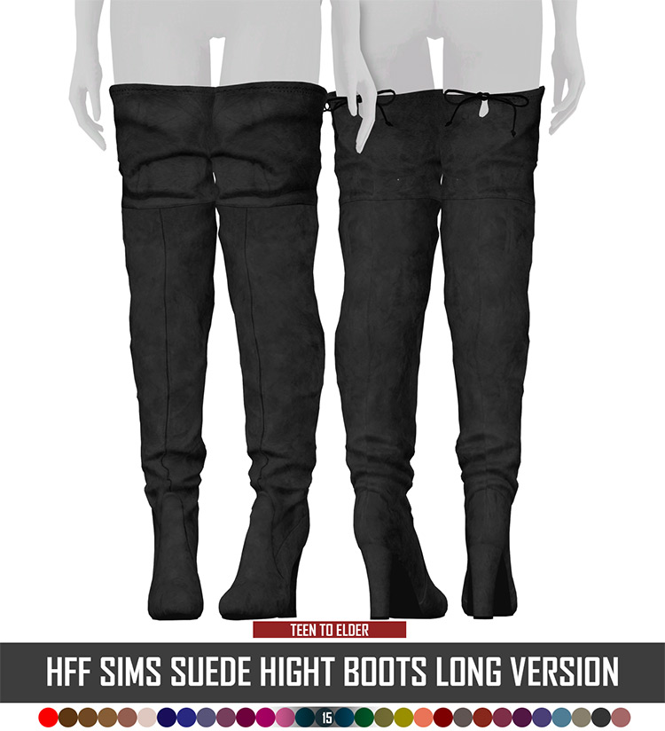 Suede High Boots for Girls - Sims 4