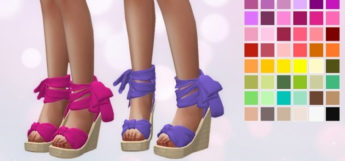 Wedge Ribbon Heels - Sims 4 Shoes CC