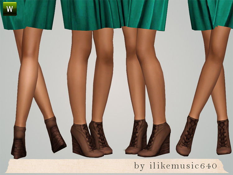 Wedge Lace Up Boots for The Sims 4