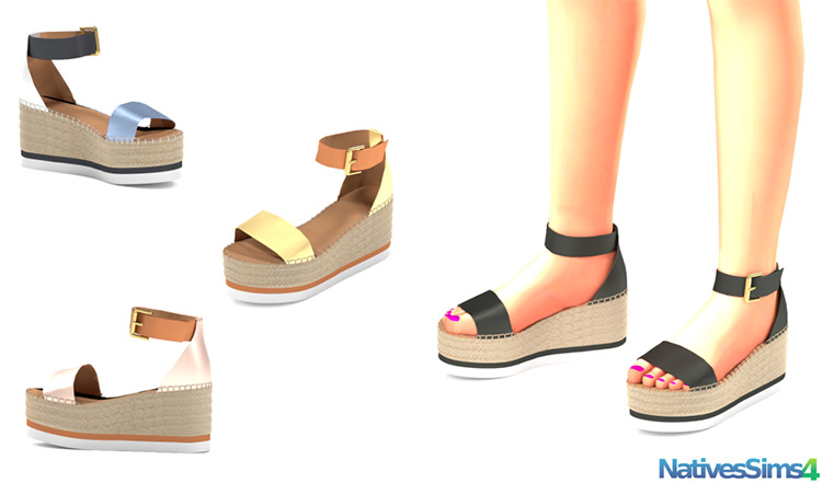 Wedged Espadrille Sandals CC for The Sims 4