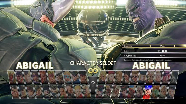 Thanos Street Fighter V Mod character menu screenshot
