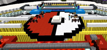 Pokeball battle tournament arena in Minecraft