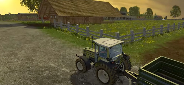 Tractor trailer at sunrise - Farming Simulator 15 screenshot