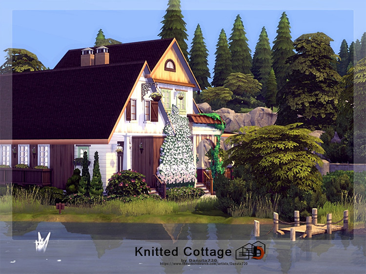 Knitted Cottage CC for Sims 4