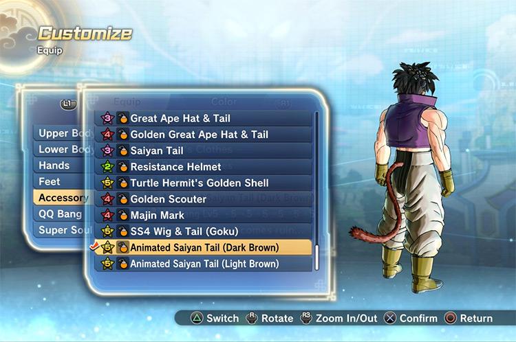 Animated Saiyan Tail Accessory for Xenoverse 2