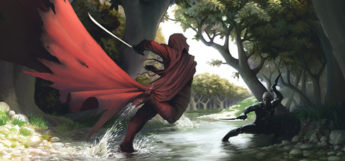 Red caped battle in the forest