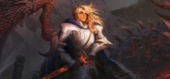 Blonde Warrior Knight (Female) - Digital Painting by arvalis