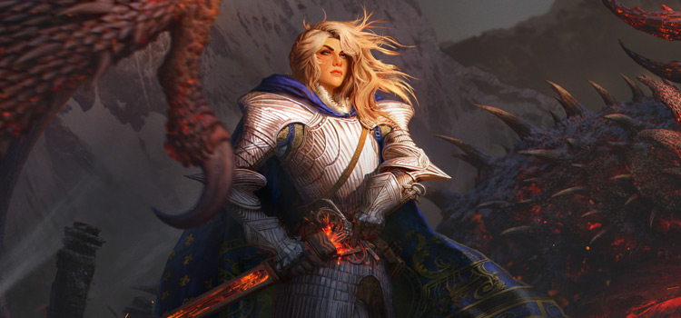 Blonde Warrior Knight (Female) - Digital Painting by arvalis