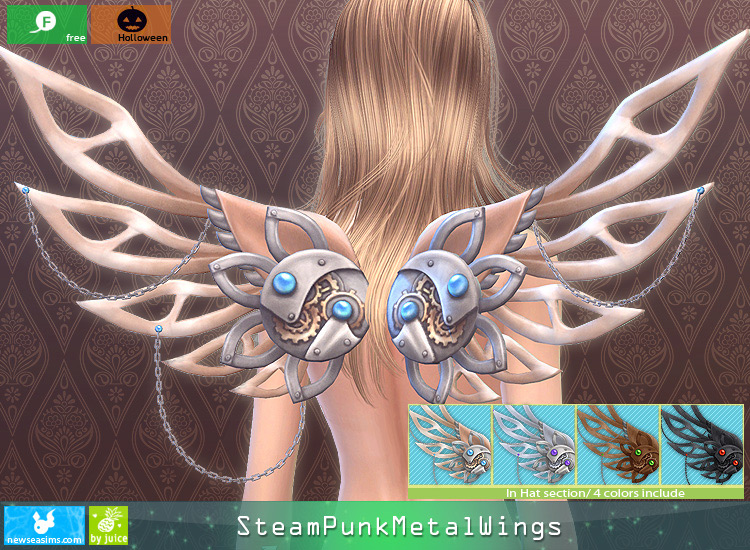 SteamPunk Metal Wings CC for Sims 4