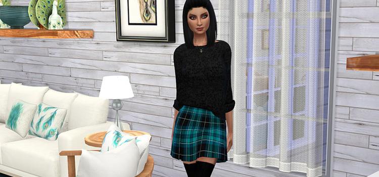 Blue Plaid Pleated Mini-Skirt - Sims 4 CC