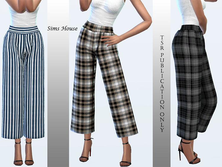 Women's Wide Plaid Pants CC - The Sims 4