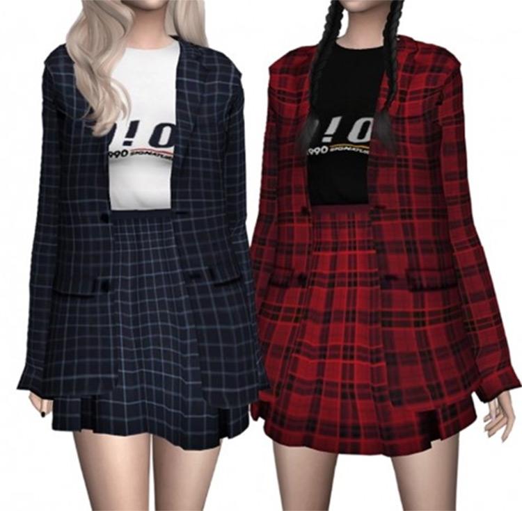 Plaid Outfit Set CC - TS4
