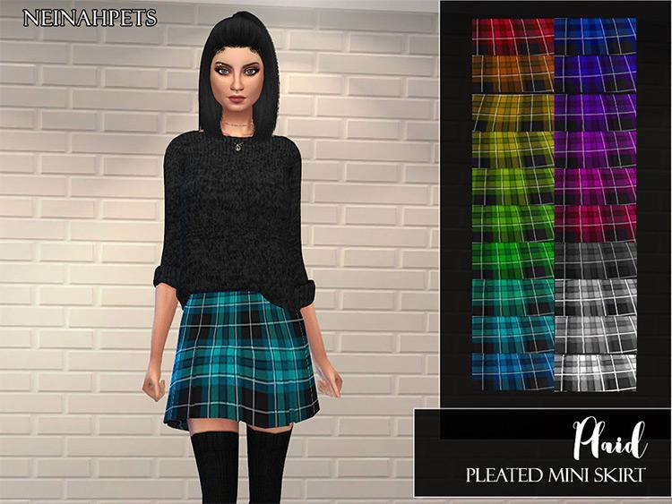 Plaid Pleated Skirt CC - Sims 4