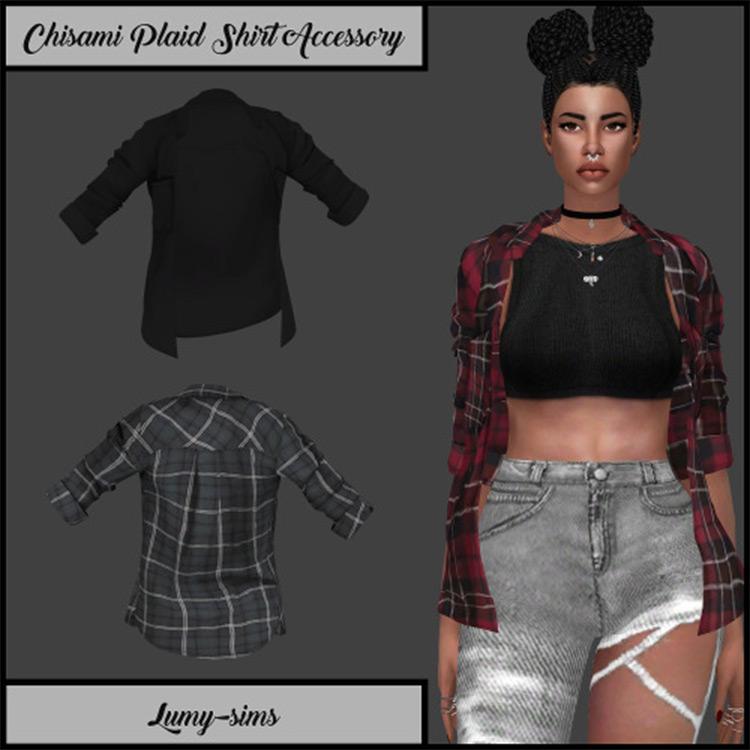 Plaid Shirt Accessory CC for Sims 4