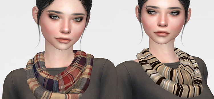Cute girls scarves CC for The Sims 4