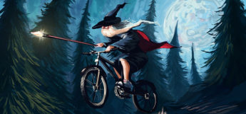Wizard riding a bike - digital painting by Tom McGrath