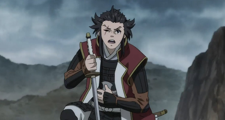 Tahoumaru with sword in battle field - Dororo anime