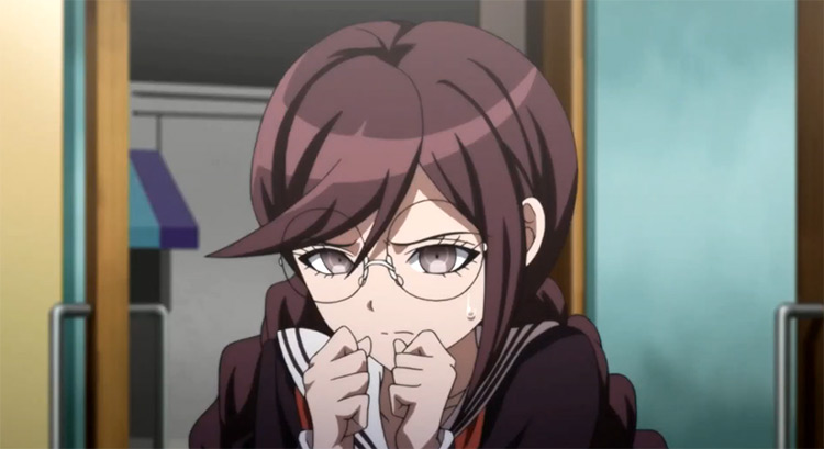 Afraid Touko Fukawa in Danganronpa: The Animation anime