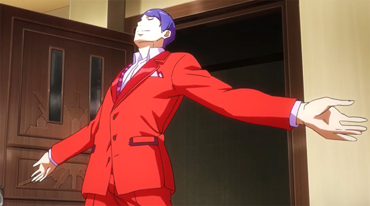 Anime man in orange suit - Shuu Tsukiyama