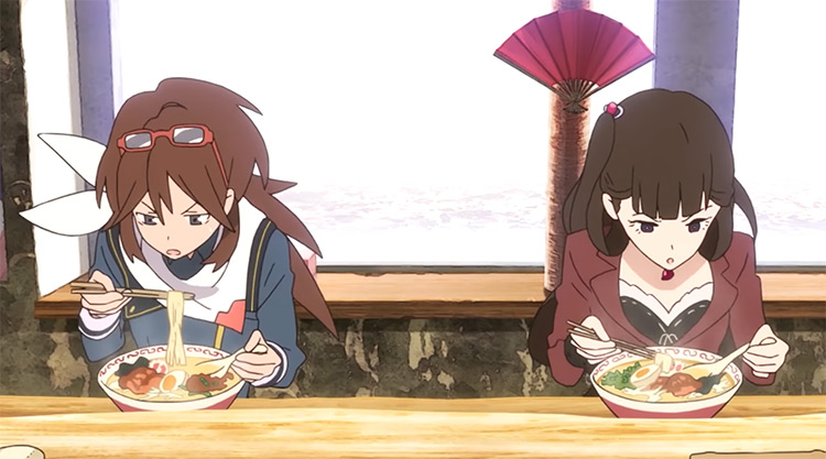 Two girls eating ramen - Rolling Girls Anime