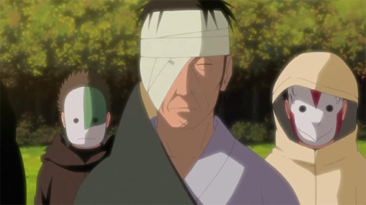 Danzō Shimura with anbu in Naruto: Shippuden anime