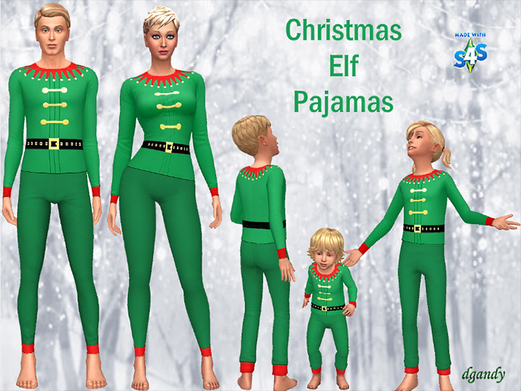 Christmas Elf Pajamas Sims 4 CC