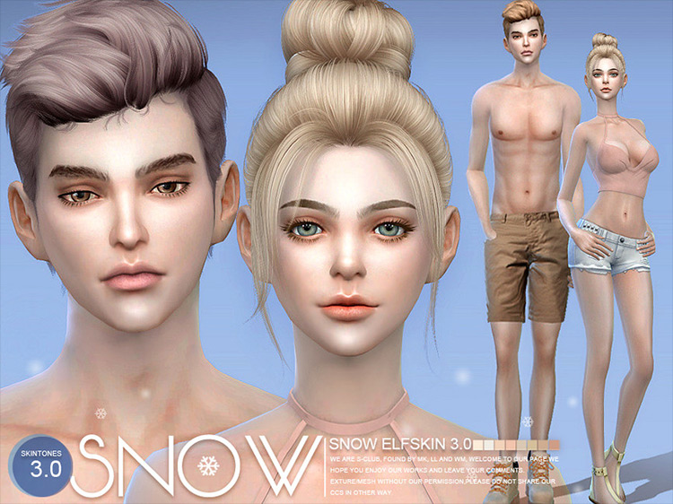 Snow Elf Skin CC for Sims 4