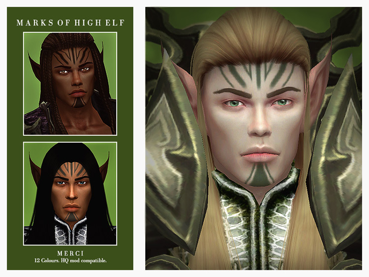 Marks of a High Elf Sims 4 CC
