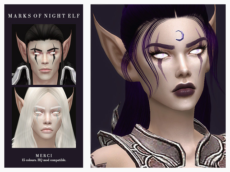 Marks of Night Elf Sims 4 CC screenshot