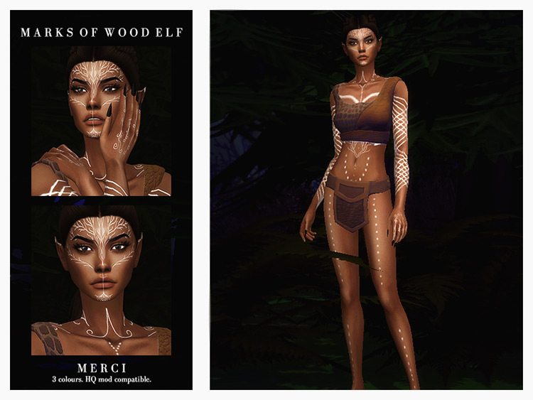 Marks of Wood Elf Sims 4 CC