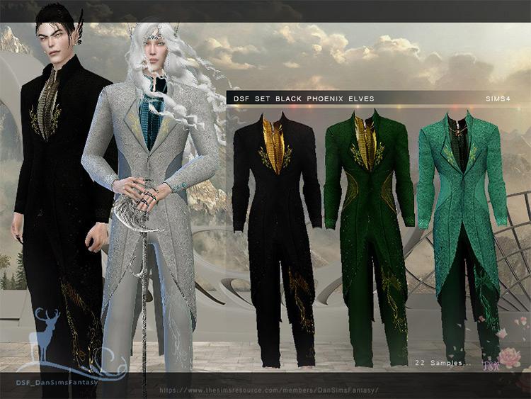 Black Phoenix Elven Suit Sims 4 CC