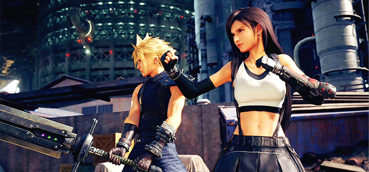 Cloud and Tifa - HD Screenshot of Final Fantasy 7