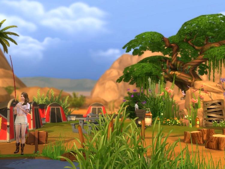 Fishing Sim Magic Tree Campsite - Sims 4 Mod