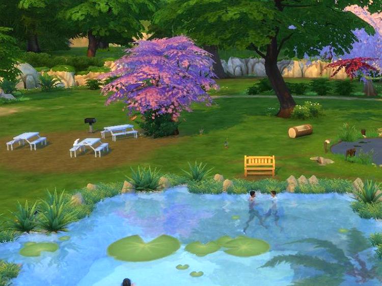 Two sims swimming LilyPad Lake Sims 4 Mod