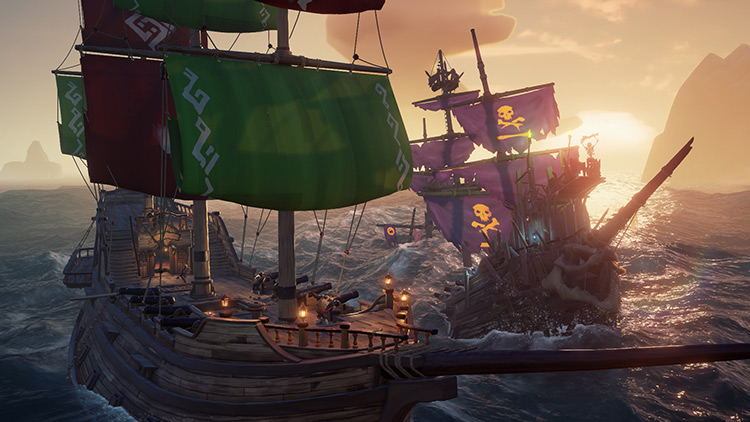 Two pirate ships in battle Sea of Thieves Game