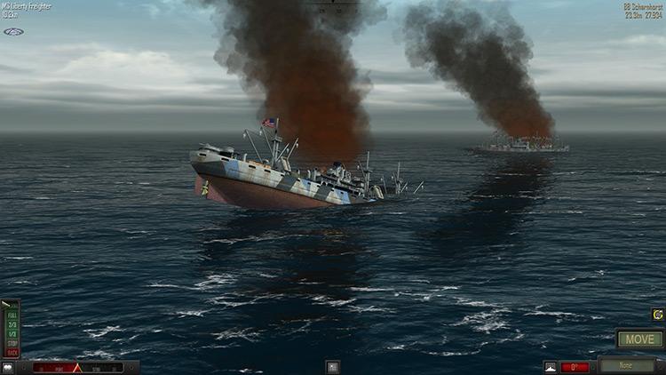 Sinking ship in Atlantic Fleet Game screenshot