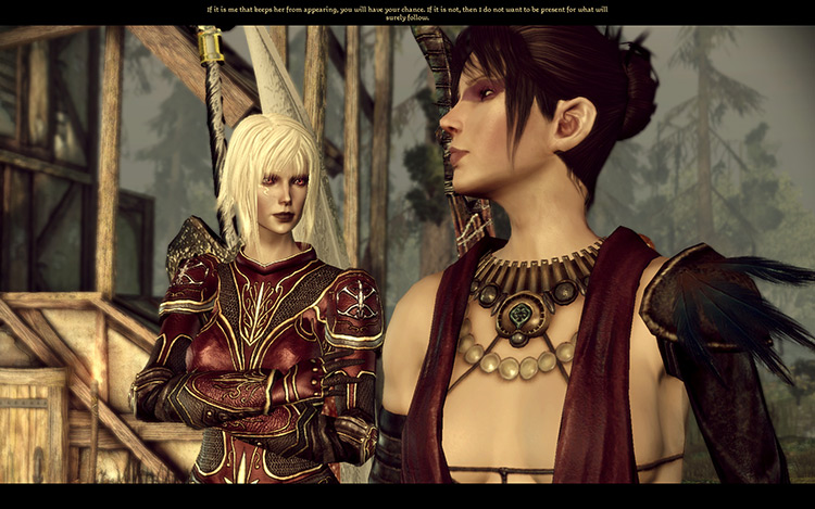 Cinematic shot of two female characters DAO