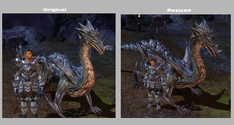 Comparison of Drakes N Dragons Resized DAO Mod