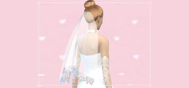Beautiful wedding veil CC for The Sims 4