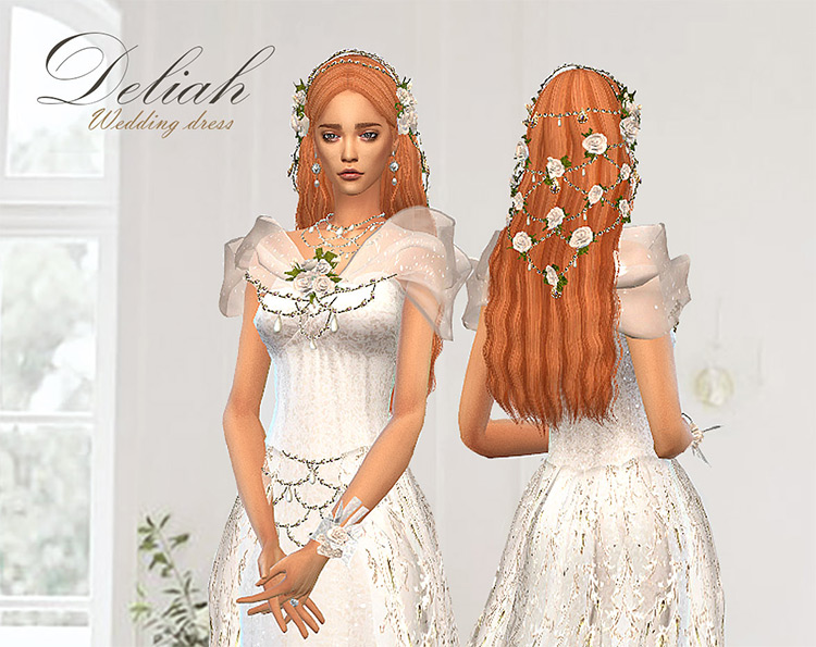 Deliah Wedding Dress Set – Rose Lace Sims 4 CC